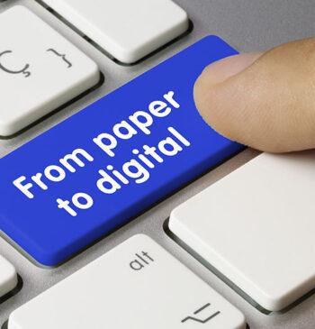 Imagem Ilustrativa com a frase: From Paper to Digital -Gestão de Contratos Digitais: 7 Passos para implementar no seu negócio